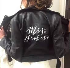 Custom Mrs Leather Jacket Iron On Heat Transfer Mrs Jacket Mrs Deni The Native Bride