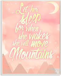 The Kids Room By Stupell Stupell Home Decor Let Her Sleep Pink Water Color Mountains Wall Plaque Art 10 X 0 5 X 15 Proudly Made In Usa