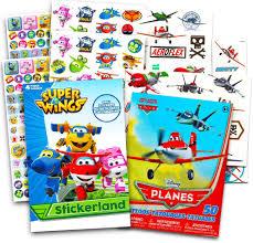 Amazon Com Super Wings Party Supplies Super Wings Pegatinas Para Fiestas Mas De 295 Aviones De Transformar Y 50 Tatuajes Temporales De Disney Toys Games
