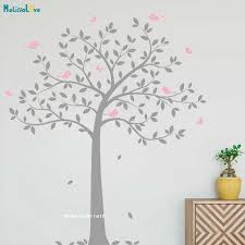 Two Colors Simple Tree Wall Sticker Nursery Birds Butterflies Lively Art Tattoo Nature Decals Home Decor Self Adhesive Yt3491 Wall Stickers Aliexpress