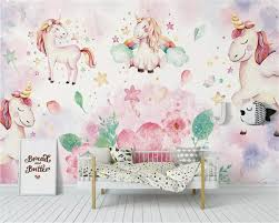 Beibehang Custom Wallpaper Modern Pink Unicorn Flower Children S Room Background Wall Papel De Parede Wallpaper For Kids Room Buy At The Price Of 9 00 In Aliexpress Com Imall Com