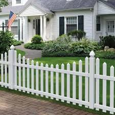 Veranda Glendale 4 Ft H X 8 Ft W White Vinyl Scalloped Top Spaced Picket Fence Panel With 3 In Unassembled Pointed Pickets 128006 The Home Depot White Vinyl Fence White