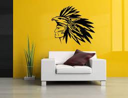 Amazon Com Vinyl Sticker Native American Indian Tribal Head Bold Eagle Hat Apache Feather Cherokee Mural Decal Wall Art Decor Sa2882 Handmade