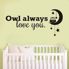 Owl Always Love You English Quote Wall Stickers Cartoon Owl And Moon Stars Decal For Kdis Rooms Baby Bedroom Home Decor Jd3965a Wall Stickers Aliexpress