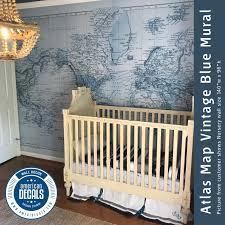 Nursery Wall Decal Mural Vintage World Atlas Map Wall Fabric Decal