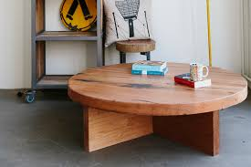 round oak coffee table with x base