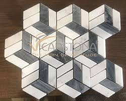 stone geometric pattern floor tiles