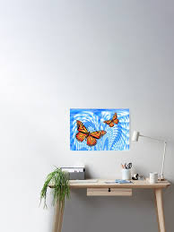 Butterflies In A Blue Sky Poster By Orlacahill Redbubble
