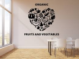 Vinyl Wall Decal Organic Fruits Vegetables Food Dining Healthy Eating Wallstickers4you
