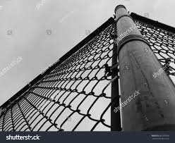 Steel Wire Fence Corner Post Grayscale Stock Photo Edit Now 667697656