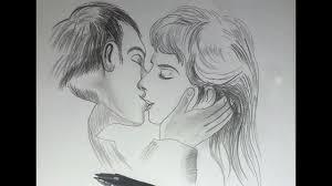 draw lip to lip kissing pencil sketch