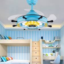 14 18 W Reversible Nautical Style Anchor Blue Pink Kids Ceiling Fan With Light Beautifulhalo Com