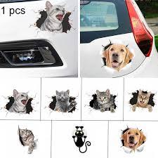 1pcs Funny 3d Cat Dog Car Decals 3d Stereo Cat Car Window Sticker Wall Sticker Car Ornament Wish