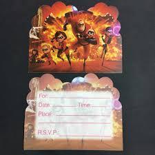 Tarjetas De 6 Uds Tarjeta De Invitacion De Papel Con Diseno Increible Para Decoracion De Fiesta De Cumpleanos Infantil Aliexpress