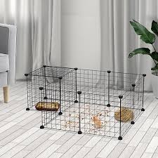 Diy Pet Playpen Metal Wire Fence 12 Panel Guinea Pig Small Animals Cage Black Ebay