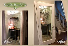 wine room glass door remodel etched