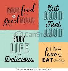 retro food quote designs set of colorful labels set of vintage