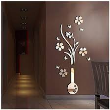 Amazon Com Alrens Tm Luxury Vase Plum Flowers Pattern 3d Mirror Wall Stickers Living Room Entrance Bedroom Tv Wall Decals Marriage Room Decorated Dining Room Decor Home Decoration Removable Home Kitchen