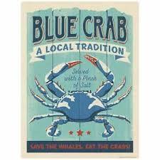 Blue Crab Served Vinyl Sticker Laptop Car Decal Vintage Style Ebay