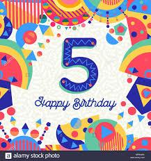 Feliz Cumpleanos 5 Ano Diseno Divertido Con Numero Texto De