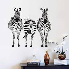 Three Zebra Wall Stickers Waterproof Art Vinyl Decal For Living Room Home Decor Removable Animal Modern Vinyl Decal Wall Sticker Animalwall Mural Aliexpress