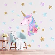 Unicorn Kids Room Wall Stickers Pink Cute Cartoon Stickers Heart Star Kindergarten Decoration Diy Home Decor Wall Decals Sticker Wall Art Words Wall Cling From Homedod 2 32 Dhgate Com