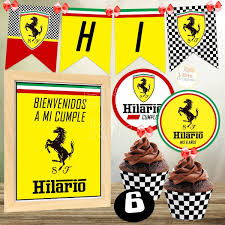 Kit Imprimible Ferrari Formula 1 Decoracion Cumpleanos Candy