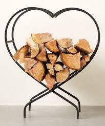 metal heart log holder