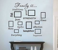 Family Is Family Wall Decals Set Of 13 Family Words Photo Collage Living Room Family Room Decor Home Dec Family Wall Decals Family Wall Frames On Wall
