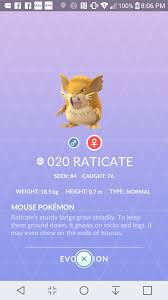 Question] My female Rattata shows evolution unknown : pokemongo