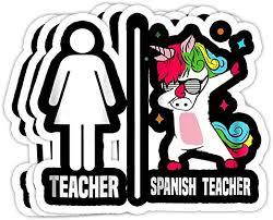Amazon Com Grayfoxxy Womens Spanish Teacher Unicorn Dabbing Dab Dance Funny Gift Decorations 4x3 Vinyl Stickers Laptop Decal Water Bottle Sticker Set Of 3 Kitchen Dining