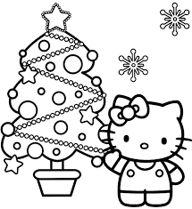 Hello Kitty And Christmas Tree Coloring Page Kleurplaten Hello