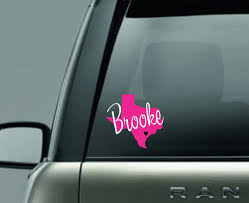 Texas Decal With Name And Heart Texas Car Decal Personalized Decal Car Decal Car Monogram Sticker Permanent Decal T Shirt Time