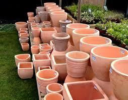 terracotta lacquered plant pots