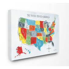 The Kids Room By Stupell 36 In X 48 In Colorful World Map Of Usa Kids Nursery Painting By Farida Zaman Canvas Wall Art Brp 2429 Cn 36x48 The Home Depot