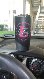 Dot Circle W Initial And Name Decal On Stainless Steel Cup
