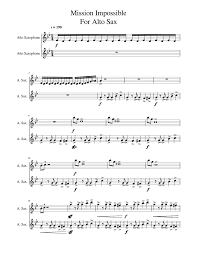 Mission: Impossible Theme Sheet music for Alto Saxophone ...