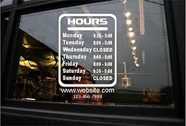 Amazon Com Stickerloaf Brand Store Hours Sign Custom Window Decal Business Shop Storefront Bar Grill Pub Restaurant Laundromat Game Deli Gym Salon Boutique Hair Nails Office Medical Cell Phone Repair Club Lounge Handmade
