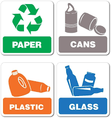 Amazon Com Recycling Paper Cans Plastic Glass Sticker Decal Bin Recycle Eco Friendly Trash Automotive