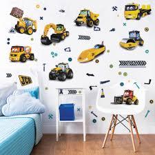 construction trucks wall decals