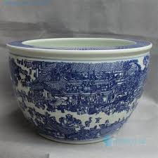 blue white ceramic garden planter
