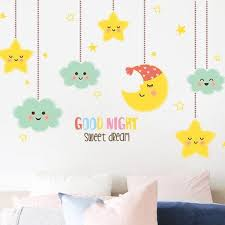 Cute Moon And Stars Wall Decal Kids Adorable Good Night Quotes Wall Stickers Baby Bedroom Homedecors Creative Girls Room Murals Thefuns On Artfire