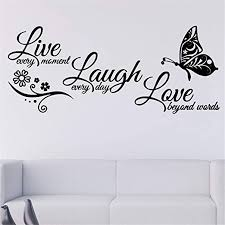 Amazon Com Wall Sticker Live Laugh Love Flower Butterfly Quotes Lettering Sticker Removable Vinyl Decal Art Mural Home Decor Diy Sticker Home Kitchen