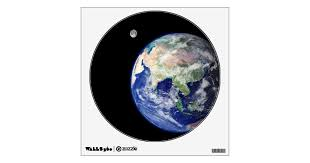 Earth And Moon From Space Wall Decal Zazzle Com