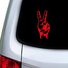 Amazon Com Stickany Car And Auto Decal Series Peace Sign Real Hand Sticker For Windows Doors Hoods Red Automotive