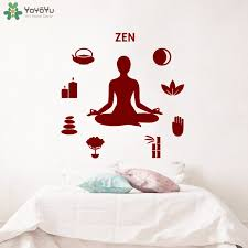 Yoyoyu Wall Decal Quote Zen Yoga Studio Meditation Wall Sticker Lotus Pose Buddha Removable Relax Home Decor Interior Art Ct725 Wall Stickers Aliexpress