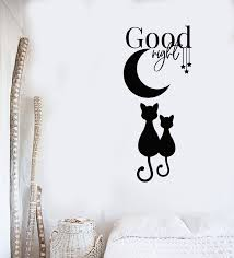 Vinyl Wall Decal Good Night Moon Stars Cats Kids Bedroom Room Stickers Wallstickers4you