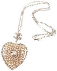 cc faux pearl heart pendant necklace