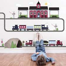 Train Wall Decal 2 Freight Train Wall Decals Train Station Etsy Trainset Trains Trainstation Kidsroom Train Bedroom Train Theme Bedrooms Bedroom Themes
