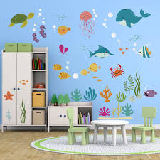 Amazon Com Decalmile Under The Sea Dolphin Fish Wall Decals Vinyl Peel And Stick Kids Room Wall Stickers Baby Nursery Childrens Bedroom Bathroom Wall Decor Arts Crafts Sewing